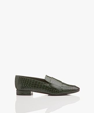 ATP Atelier Winnie Leather Loafers - Forest Green Printed Croco