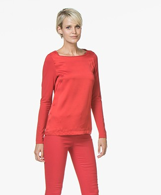 Kyra & Ko Amber Long Sleeve with Silk Front Panel - Red