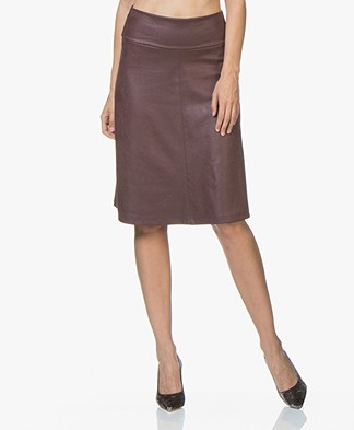 Kyra & Ko Lara A-line Skirt in Faux Craquele Leather - Aubergine