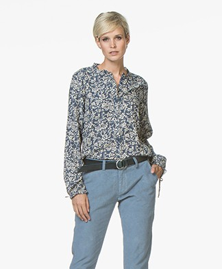 indi & cold Two-tone Floral Print Blouse - Indigo