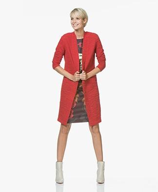 Kyra & Ko Feline Ottoman Rib Jersey Blazer Cardigan - Red