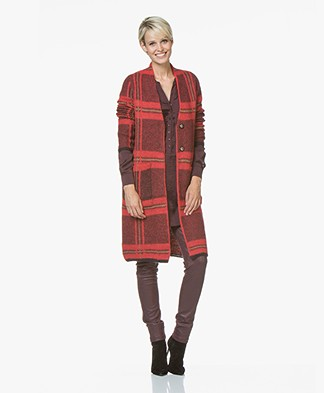 Kyra & Ko Iris Mohair Blend Jacquard Checkered Cardigan - Red