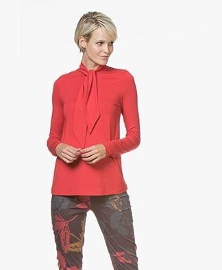 Kyra & Ko Lotte Jersey Tie Neck Long Sleeve - Red