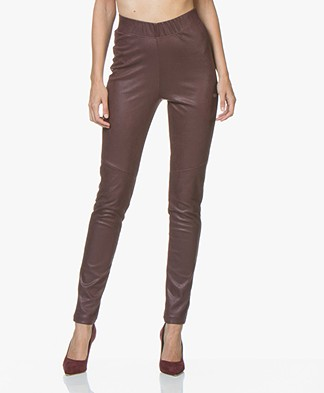 Kyra & Ko Naobi Faux Craquele Leather Leggings - Aubergine