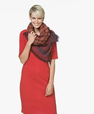 Kyra & Ko Silke Jacquard Scarf in Cotton - Red