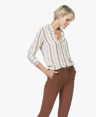 BY-BAR Paris Striped Blouse in Viscose - Off-white
