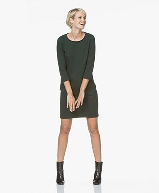 BY-BAR Zen Tweed-jersey Dress with Slit Pockets - Dark Green