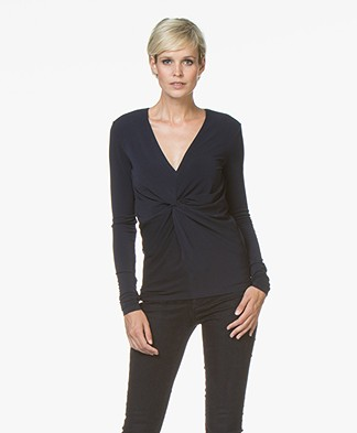 By Malene Birger Sulana Crepe Jersey T-shirt - Midnight Heaven