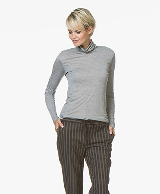 Closed Viscose Blend Turtleneck with Cashmere - Light Grey