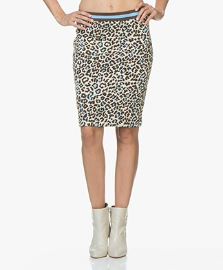 Josephine & Co Jort Leopard Jacquard Skirt - Beige/Brown/Blue
