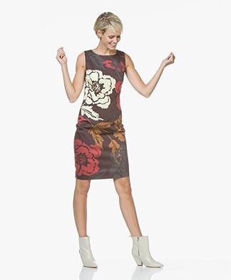 Kyra & Ko Dagmar Sleeveless Print Dress - Aubergine