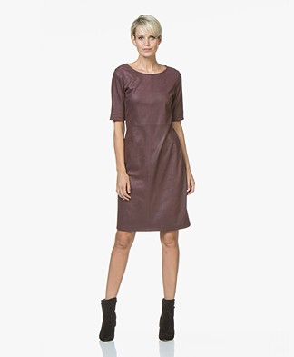 Kyra & Ko Maeve Dress in Faux Craquele Leather - Aubergine