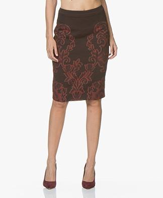 Kyra & Ko Perla Brocade Pencil Skirt - Aubergine