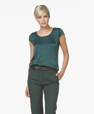 no man's land Stretch Silk T-shirt - Emerald
