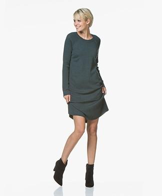 Repeat Knitted Dress in Merino Wool - Dark Green