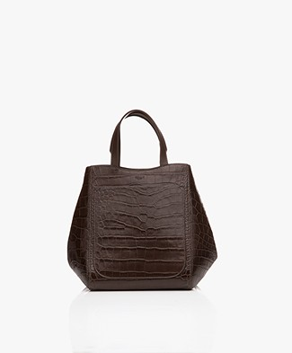 Filippa K Shelby Mini Bucket Leather Bag - Bruin Croco