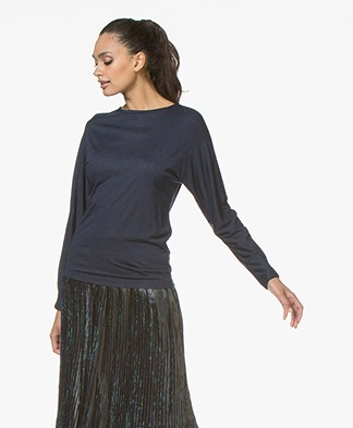 BY-BAR Katy Viscosemix Longsleeve met Lurex - Donkerblauw