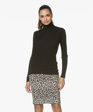 Belluna Zipper Rib Turtleneck - Black