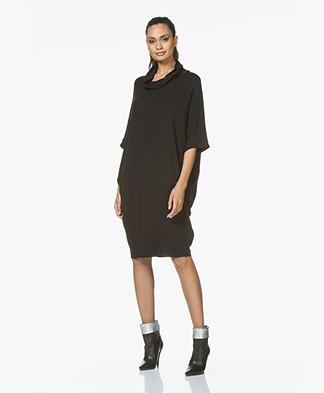 BRAEZ Daine Oversized Jersey Turtleneck Dress - Black