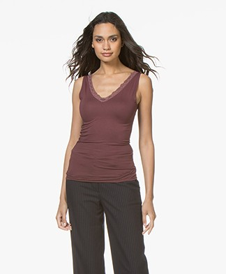 BY-BAR Double V-neck Top with Lace - Vintage Port