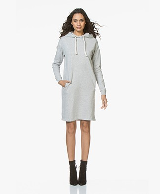BY-BAR Hooded Sweater Dress in Cotton - Grey Melange