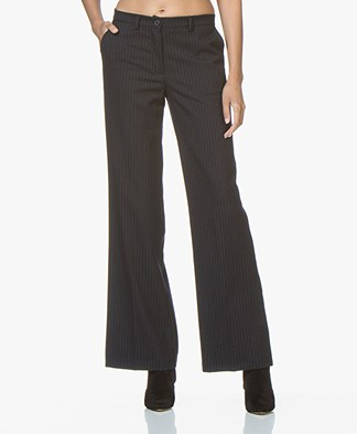 BY-BAR Netty Wide Pinstripe Pants - Dark Navy