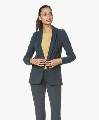 BY-BAR Stef Corduroy Blazer in Cotton - Oil Blue