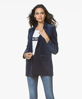 Closed Cox Ribbed Velvet Blazer - Japanese Blue