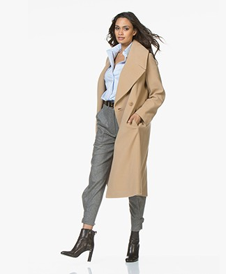 Drykorn Cluny Wool Coat with Overzised Collar - Camel