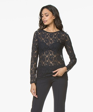 no man's land Lace Long Sleeve - Dark Sapphire