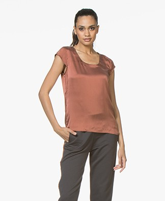 no man's land Stretch-zijden T-shirt - Dark Sienna