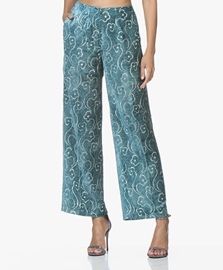 Pomandère Wide-leg Printed Pants - Ice Blue