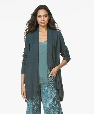 Repeat Merino Open Cardigan with Shawl Collar - Dark Green