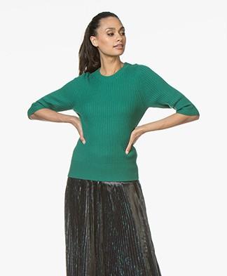 Repeat Merino Half Sleeve Rib Pullover - Green
