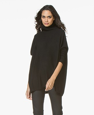 Repeat Wool and Cashmere Oversized Turtleneck Sweater - Black
