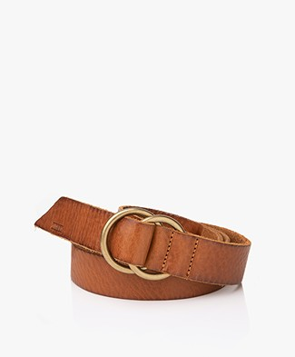 Closed Ring Buckle Belt - Burned Cognac