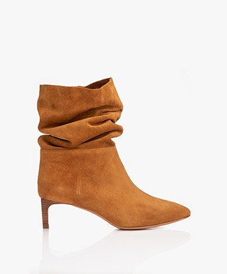 ba&sh Clarys Suede Leather Boots - Cognac