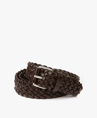 Filippa K Braided Croco Leather Belt - Brown Croco