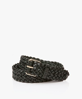 Filippa K Braided Croco Leren Riem - Emerald Croco