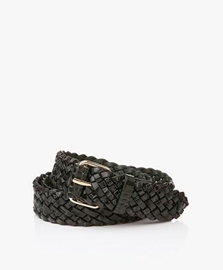 Filippa K Braided Croco Leather Belt - Emerald Croco