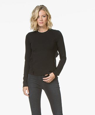 Denham Bell Sweater met Ruches - Shadow Black