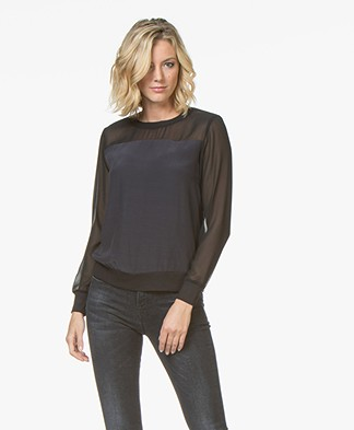 Denham Union Viscose Crêpe de Chine T-shirt - Shadow Black