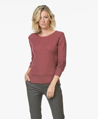 Closed Cashmere Trui met Ronde Hals - Rugby Red