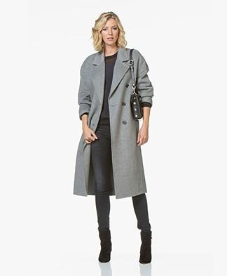 American Vintage Dadoulove Long Wool Blend Coat - Heather Grey