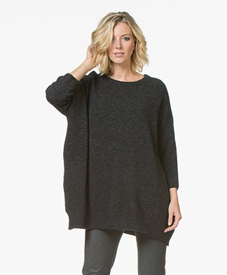 American Vintage Malawood Oversized Cropped Sleeve Sweater - Anthracite