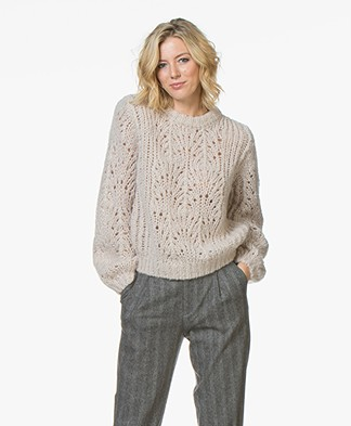 Filippa K Mohair Pointelle R-neck Sweater - Porcelain