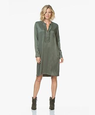LaSalle Cupro Ruffle Tunic Dress - Khaki Green