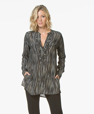 LaSalle Cupro Printed Tunic Blouse - Wood