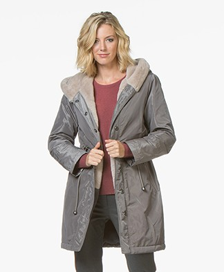 no man's land Parka with Faux Fur Lining - Mercury