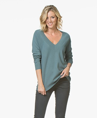 Repeat Cashmere V-hals Trui - Lake